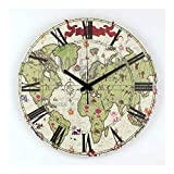 Reloj de pared de decoración del hogar Regalos habitación Mapa del mundo moderno Sala de Estudio Decoración Mute reloj de pared de niños de la manera decorativa de la pared del reloj de reloj for niño