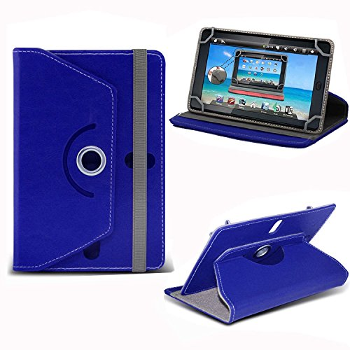 Blue Universal 7 Inch Premium PU Leather Folio Style Flip Wallet Case Cover Holder With Stand For Versus Touchpad 7', Fusion 5 7' RAPID5 ECO, Fusion 5 7' RAPIDS SKITTLE KID, Dragon Touch Y88X 7', Acer Iconia B1 7', iPad Mini 1 2 3 (Blue)
