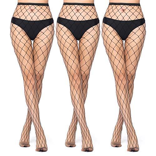 3 Pairs High Waist Tights Fishnet Stockings Thigh High Pantyhose for Women Sexy Fishnet Leggings Stockings Black Ultra Mesh
