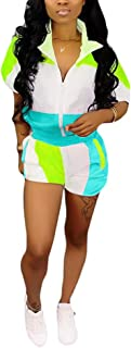 Womens Casual 2 Piece Outfits Patchwork Half Sleeve Jacket Shorts Sets