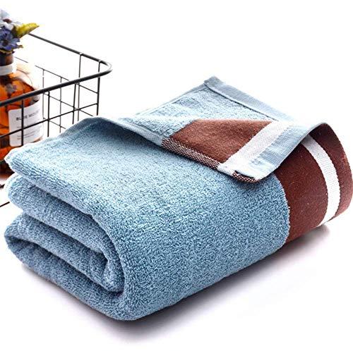 GLYHVXZ Toalla de baño de algodón Puro, Toalla de Color sólido, Toalla de baño de Lujo, absorción de Agua, Delicado, 370 g, Adecuado para su Uso en el baño y Gimnasio, 70 * 140 cm,Azul