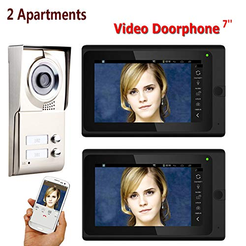 VIER Video Deurbel, 7 Inch Record Bedraad Wifi 2 Appartementen Video Deur Telefoon Intercom Systeem IR-CUT HD 1000TVL Camera Deurbel Camera Met 2 Knop 2 Monitor Waterdicht