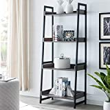 AMOAK 4-Tier Bookshelf, Industrial Ladder Shelf, Bookshelves, Vintage Bookcase, Storage Rack Shelves for Living Room, Bathroom, Wooden and Metal Frame, Retro Gray