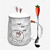 Taza Mug Café Taza De Café De Conejo De Dibujos Animados De 420 Ml Taza De Pareja Creativa Taza De Leche Taza De Oficina Con Tapa Cuchara Regalo De Niña Taza De Cerámica