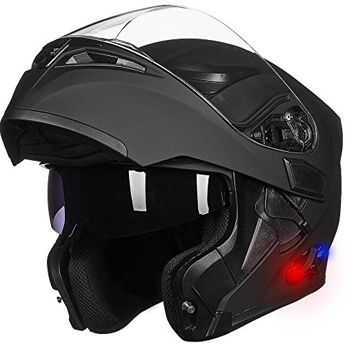 ILM Bluetooth Motorcycle Helmet Modular Flip up Full Face Dual Visor Mp3 Intercom FM Radio DOT Approved (Matte Black, 2XL)