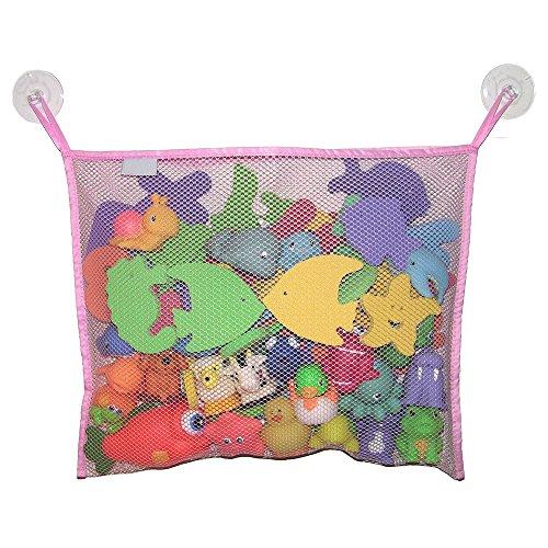 Bluelans Grande bébé jouet de bain Organiseur de sac avec 2 ventouses – environ 45 cm x 35 cm, rose, Taille unique