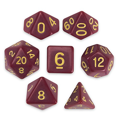 Wiz Dice Crimson Queen Set of 7 Polyhedral Dice, Solid Dark Red Tabletop RPG Dice with Clear Display Box