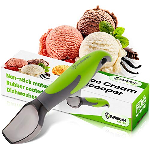 Yarmoshi Ice Cream Scooper for Ice Cream Cookie Dough and Frozen Yoghurt. Made of Non-Stick PS - Ergonomic Penguin Handle with Non-Slip Rubber Coating for Easy Grip. - Small Size - Great for Kids
