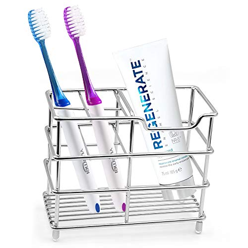 Uigos Toothbrush Holder for Bathroom , Stainless Steel Tooth Brush Holders with Multifunctional 5 Slots for Electric Toothpaste Holder