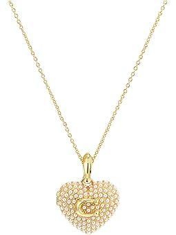 코치 목걸이 COACH Pearl Puff Heart Locket Necklace,White Pearl