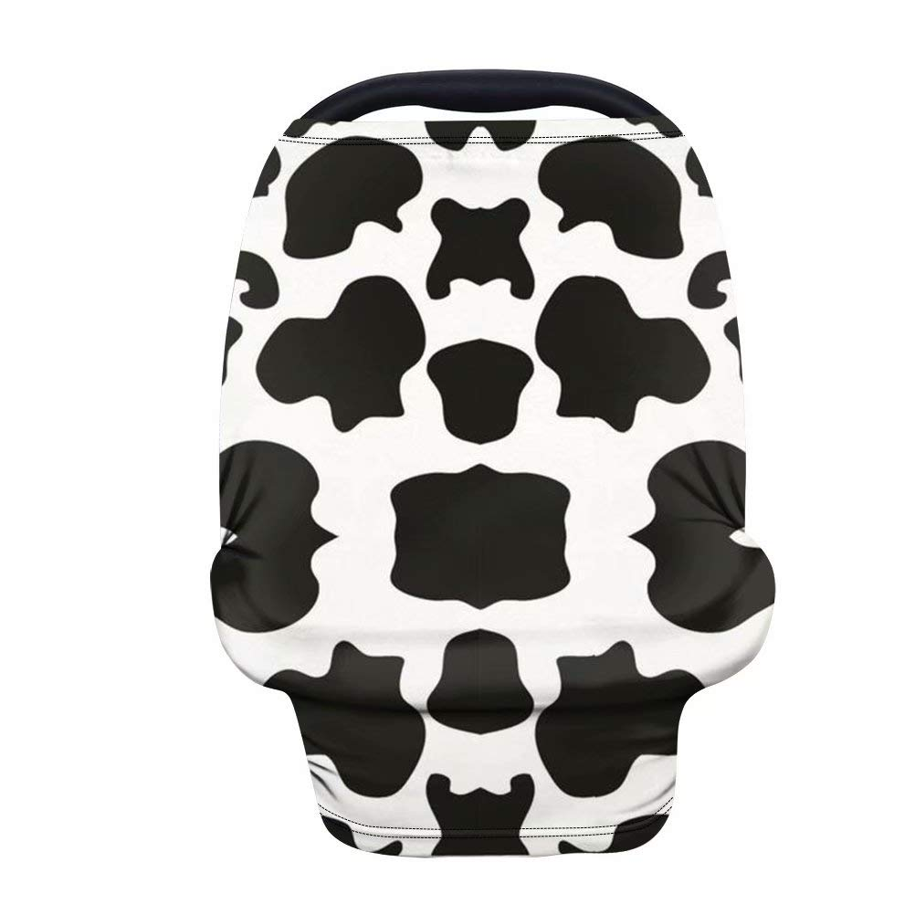 Forchrinse Black White Cow Print Baby Car Seat Cover for Newborns,Soft Stretchy Nursing Cover Breastfeeding Cover Infant Carseat Canopy Flexible Cover for High Chair Stroller Shopping Car