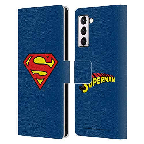 Head Case Designs Officially Licensed Superman DC Comics Classic Logos Leather Book Wallet Case Cover Compatible with Samsung Galaxy S21+ 5G