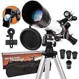 Telescopio para adultos y niños principiantes 20 x 167 x 500/60 mm AZ Montura óptica totalmente multicapa telescopio profesional de astronomía con trípode ajustable para teléfono mochila