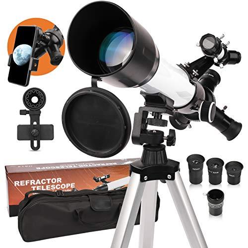 Télescopes astronomique adulte ouverture 60 mm Monture AZ 500 mm Optique entièrement multicouche Télescope professionnel pour enfants débutants avec trépied Adaptateur de téléphone sac à dos