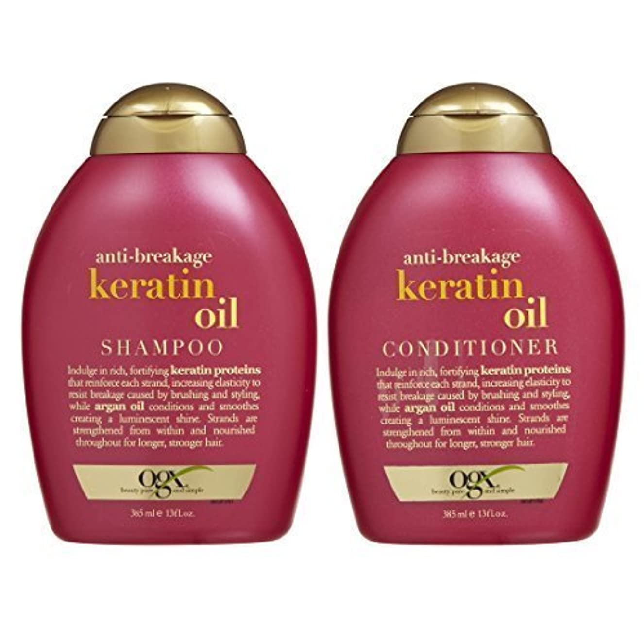 実験室開拓者オーガニックOGX Anti-breakage Keratin Oil Shampoo & Conditioner (13 Ounces) [並行輸入品]