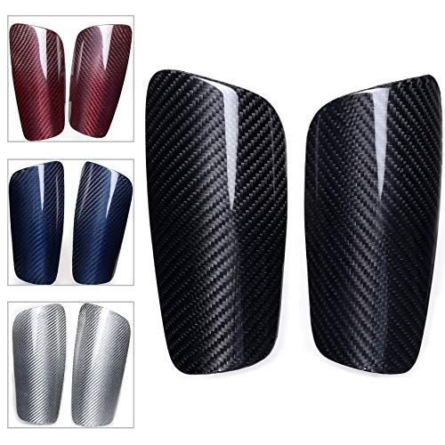 VARWANEO Carbon Fiber Soccer Shin Guards,with Large Cushioned,for Youth Adult,Men,Slim,Superlight,Genuine Carbon,Baseball,Football,Kickboxing,Thai,MMA,Protection Shocks...