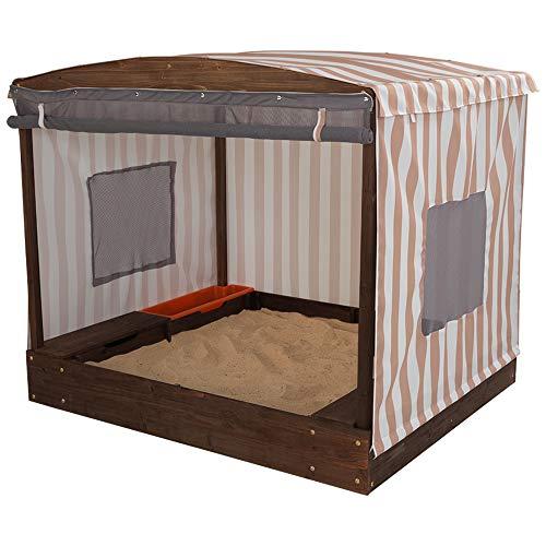 KidKraft 00 Cabana Sandbox, Oatmeal and White Stripes
