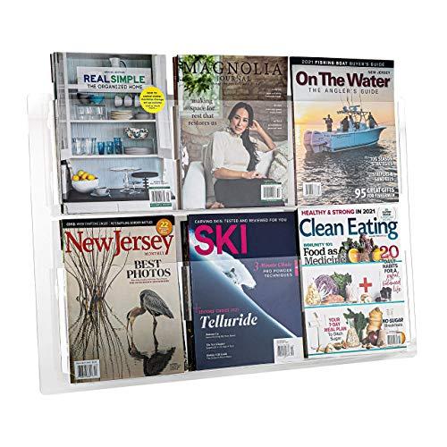 Adir Acrylic Brochure Holder Wall Mount - Adjustable Hanging Magazine Rack Literature & Brochure Holder for Home, Office, Waiting Room Display (30'' x 20'' Clear)