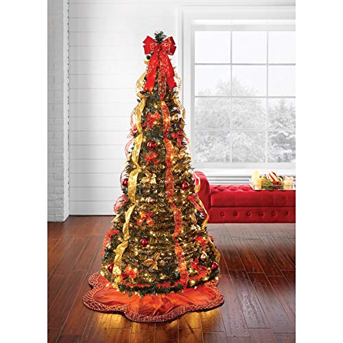 BrylaneHome Christmas Fully Decorated Pre-Lit 6-Ft. Pop-Up Christmas Tree, Red Gold