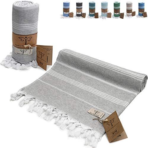 Smyrna Classical Series Original Turkish Beach Towel | 100% Cotton, Prewashed, 37 x 71 Inches | Peshtemal and Turkish Bath Towel for SPA, Beach, Pool, Gym and Bathroom (Light Gray)