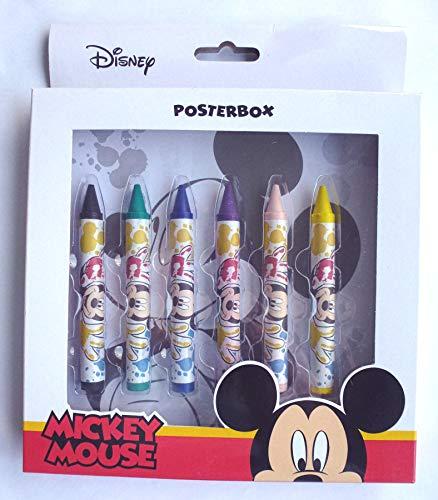 Disney Mickey Mouse Posterbox 22 teilig, Wachsmalstifte, Ausmalposter, Wachsmalkreide, Geschenk, Tombola, Mitgebsel