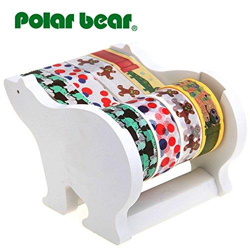 Polar Bear Multi Roll Tape Dispenser, Including 4 Rolls of Washi Tape(0.59 Inch X 10 Yards Each) 1 inch Core