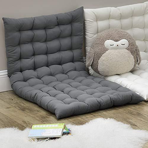 [en.casa] Bodenkissen 120x60cm Sitzkissen Kissen für Sitzecke Loungekissen Bodenmatratze ca 5 cm Dick Hellgrau