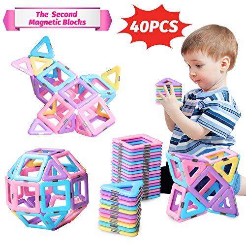 ACTRINIC 40PCS Castle Magnetblöcke - Lernen & Entwicklung Magnetfliesen Bausteine Kinderspielzeug für 3 4 5 6 7 Jahre alte
