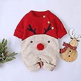 HLONGG Hambres de bebé niños y niñas de Punto Romper de Ciervo suéter de Navidad Ropa de bebé 0 18 Meses, azul-70 cm,Rojo,80cm