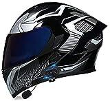 Bluetooth Integrado Casco de Moto Modular con Doble Visera Cascos de Motocicleta ECE Homologado a Prueba de Viento para Adultos Hombres Mujeres DF,L