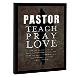 Elanze Designs Pastor Teach Pray Love Espresso Brown 10 x 8 Wood Hanging Decorative Sign Plaque