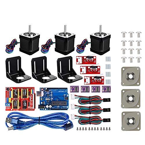 Kit de impresora 3D CNC, placa de protección CNC + placa para Kuman UNO R3 + controlador de motor paso a paso para DRV8825 + enfriador de aluminio + motor paso a paso 1.7 A para Nema 17 + montaje de m
