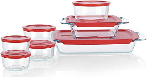 Pyrex Easy Grab Glass Bake 'N Store, Glass Food Containers with BPA Free Plastic Red Lids, (14 Piece set)