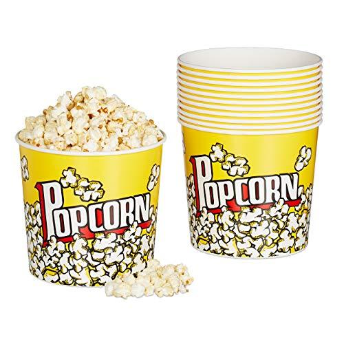 Relaxdays Popcorn Eimer, 12er Set, Filmabend Zubehör Heimkino, Retro Popcornbecher Pappe, 2,9 l, H x D: 16 x 18 cm, gelb, 12 Stück