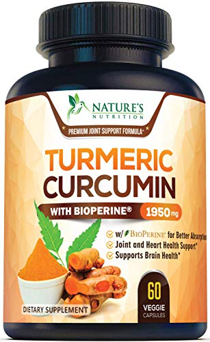 Turmeric Curcumin Highest Potency 95% Curcuminoids 1950mg with BioPerine Black Pepper for Ultra High Absorption, Made in USA, Best Vegan Joint Support Pills by Natures Nutrition - 60 Capsules