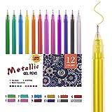 HUJUGAKO Gel Pen Metallic Gel Pens Fine Tip Pens with 150% More Ink for Kids Adults Coloring Books Drawing Doodling Crafts Scrapbooks Bullet Journaling 12 Color