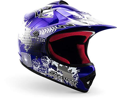 """armor HELMETS® AKC-49 """"Blue"""" · Kinder Cross-Helm · Motorrad-Helm MX Cross-Helm MTB BMX Cross-Bike Downhill Off-Road Enduro-Helm Moto-Cross Sport · DOT Schnellverschluss Tasche XS (51-52cm)"""