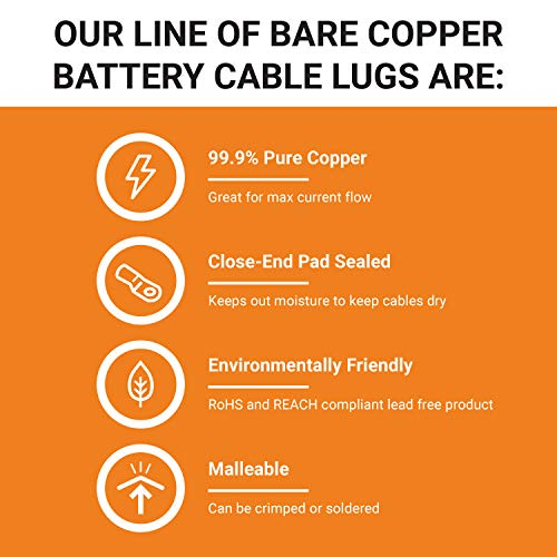 """SELTERM 6 AWG 3/8"""" Stud (10 pcs.) UL Heavy Duty Wire Lugs, Battery Cable Ends, Bare Copper Eyelets, Tubular Ring Terminal Connectors [B25]"""