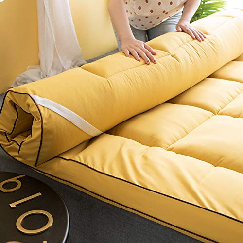 Traditional Tatami Futon Mattresses,Japanese Tatami Sleeping Floor Mat Cotton Thicken Quilting Foldable Mattress Pad for Student Dormitory Yellow King