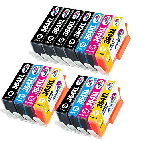 Kingway 364XL Cartuchos de tinta para HP 364 364XL Cartuchos para HP Photosmart 5510 5515 5520 5522 5525 6510 6520 C5380 B8550 HP OfficeJet 4620 4622 HP Deskjet 3070A 3520 3524 , Multipack de 15