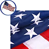 American Flag 3x5 FT, Heavyweight 210D Oxford Materials with Embroidered Stars, Sewn Stripes, Brass Grommets, Indoor/Outdoor Durable US flag, UV Protection Premium Quality American Flags Made in USA