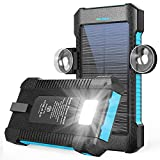 Solar Power Bank 26800mAh, Portable Solar Power Bank with Car Suction Cup Mount,Solar Charger with Dual USB Ports, Ports External...