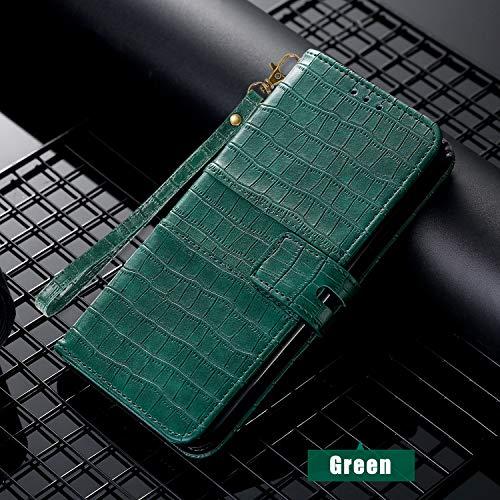 SevenPanda für iPhone XR 6.1 Zoll Flip Folio Geldbörsenetui, 100% Leder Luxus ID Cash Kredit Kartenfächer Inhaber Tragetasche PU Krokodilleder Hülle für iPhone XR - Grün