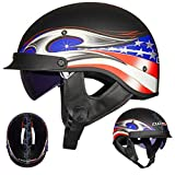 Vintage Casques de Moto, ECE Homologué Demi Casque Jet Bols vec visière de Protection,pour Hommes et Femmes Cruiser Chopper Biker
