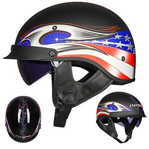 Helme Oldtimer Motorradhelm mit Brille,ECE Zertifizierung Motorrad Jet Half Helm für Damen und Herren,für Cruiser Chopper Biker