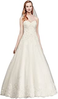 cae3ff4a7452 David's Bridal Petite Beaded Lace Tulle Ball Gown Wedding Dress Style 7V3836