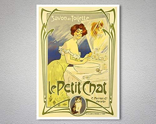 Le Petit Chat, Savon De Toilette Vintage Canvas Wall Art Canvas 0.75 Inch, Home Decor (Size 8x12, 12x18, 16x24, 24x36 Inches)