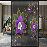 Stained Glass Bathroom Window Privacy Film Colorful 3D Flower Cartoon Floral Static Cling Vinyl Glass Film Decorations for Bathroom Office Meeting Room, Matte Pure 35.4 x 78.7 Inch