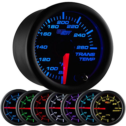 GlowShift Black 7 Color 260 F Transmission Temperature Gauge Kit - Includes Electronic Sensor - Black Dial - Clear Lens - for Car & Truck - 2-1/16' 52mm