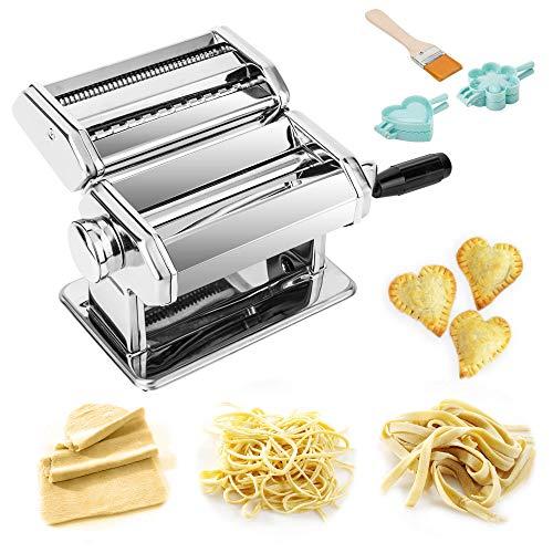 TANBURO Nudelmaschine Manuelle Stahl Nudelmaschine Manuelle Edelstahl Nudelmaschine zur Herstellung von Tagliatelle Spaghetti Lasagne Ravioli
